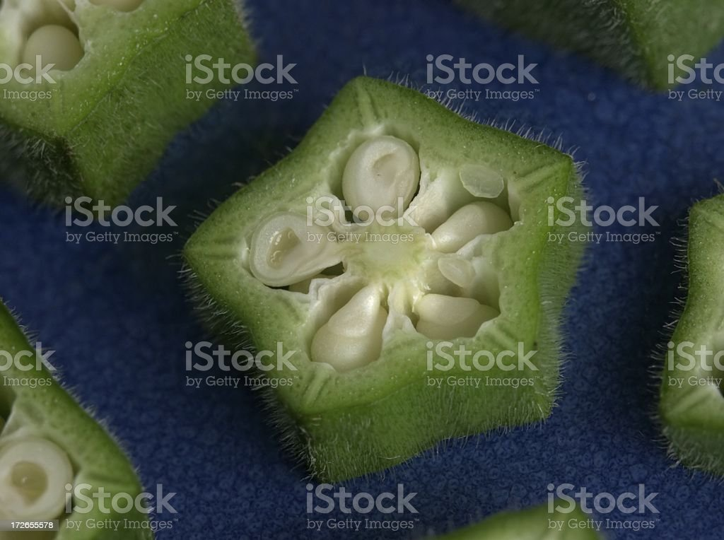 Sliced Okra macro royalty-free stock photo
