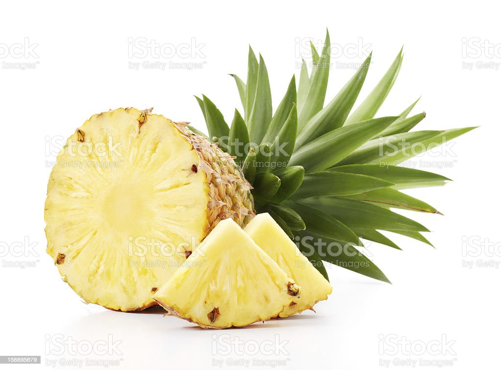 Sliced open pineapple fruit slices stock photo