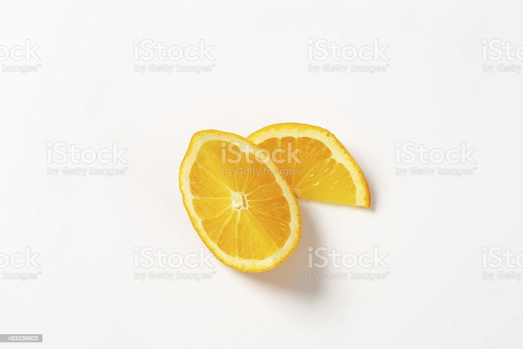 Sliced oranges on white background stock photo