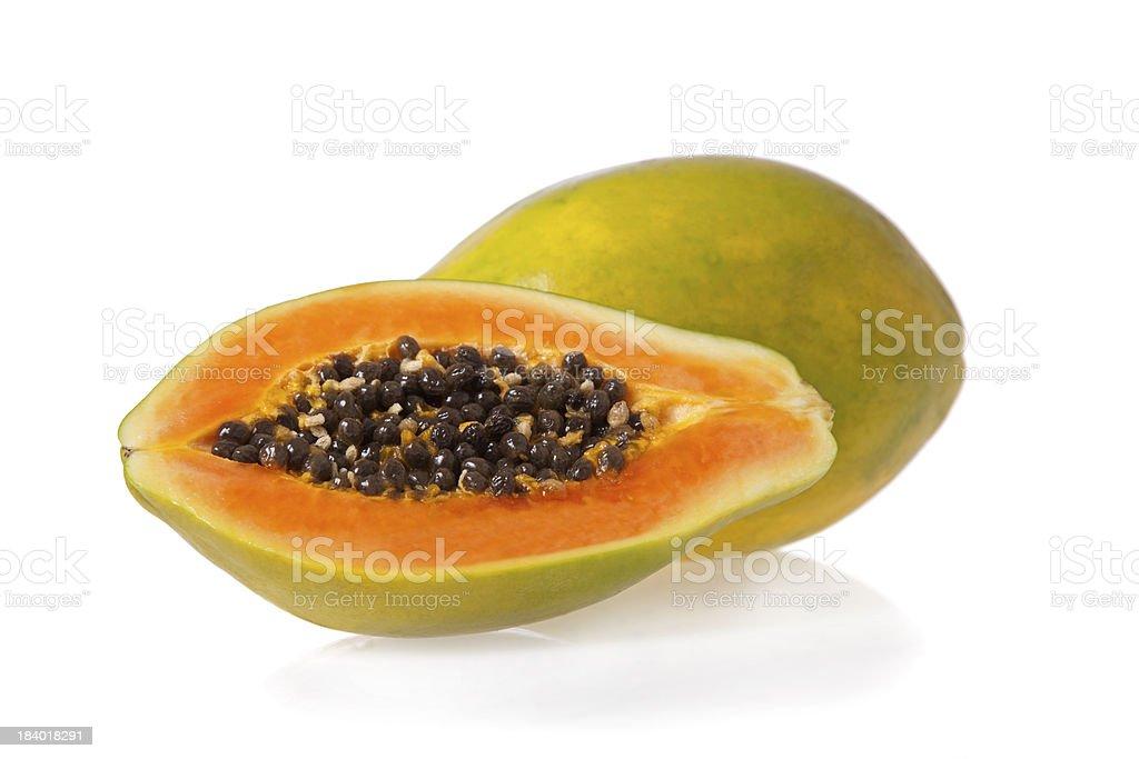 Sliced papaya isolated on white background stock photo