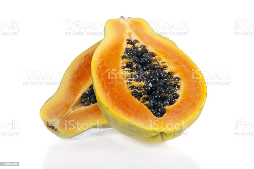 Sliced papaya isolated on white background royalty-free stock photo