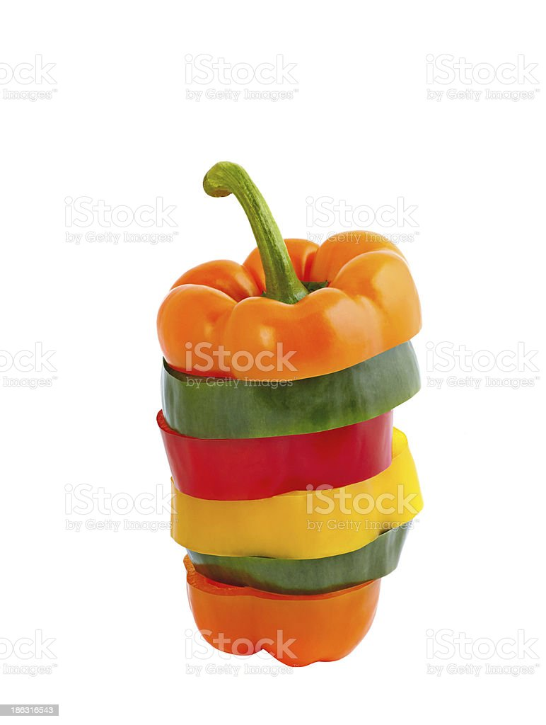 Sliced  pepper on  white background royalty-free stock photo