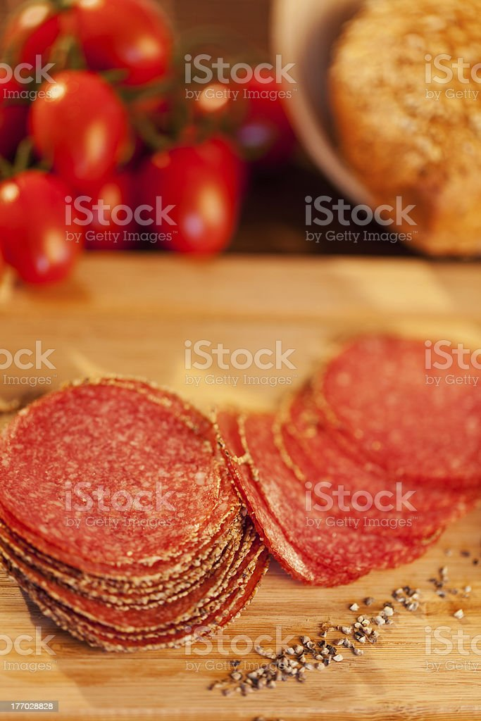 Sliced Peppered Salami stock photo