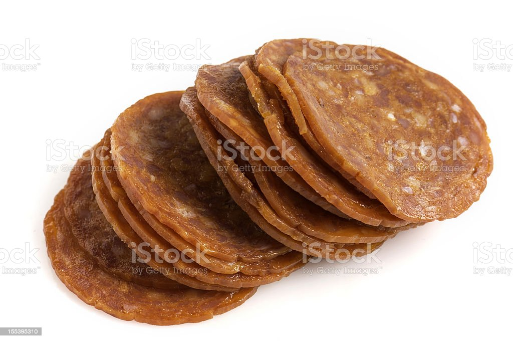 Sliced pepperoni stock photo
