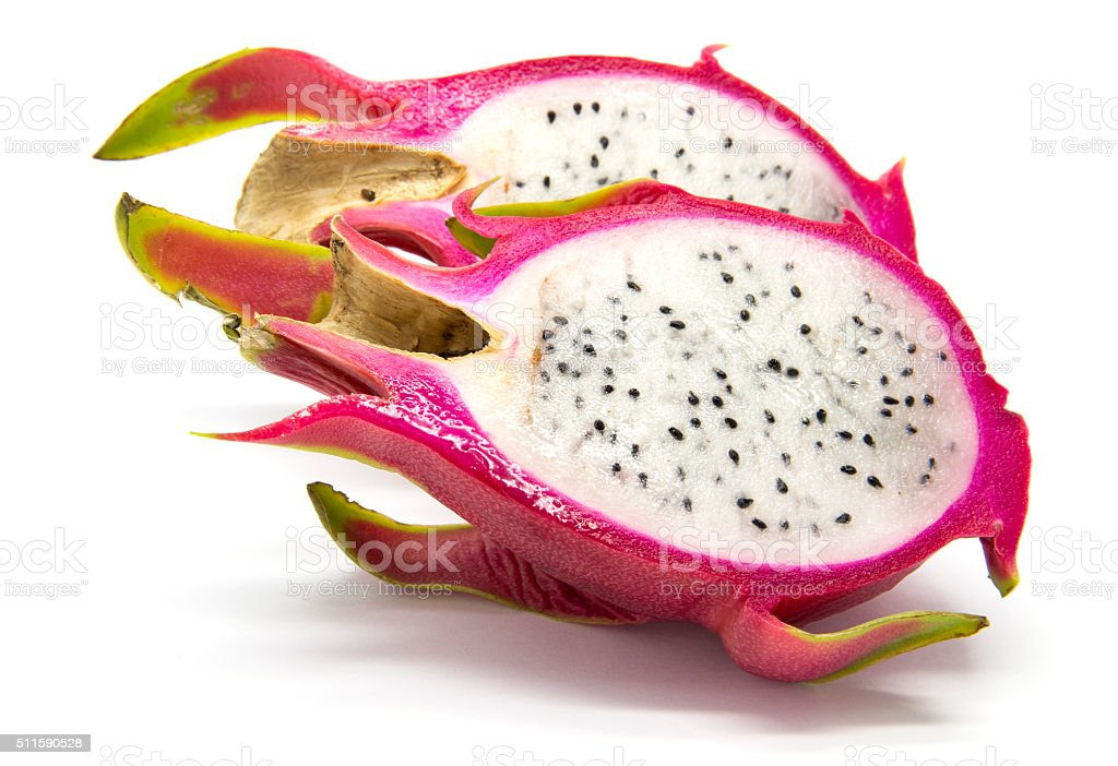 Sliced pitahaya (dragon fruit) stock photo