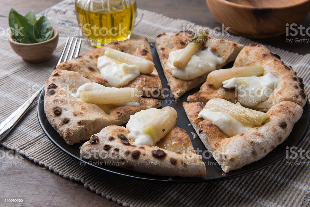 Sliced pizza gourmet stock photo