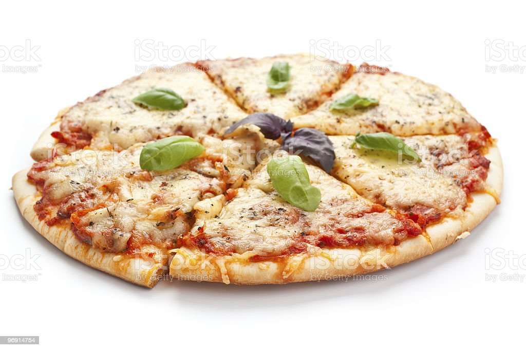 Sliced pizza margarita stock photo