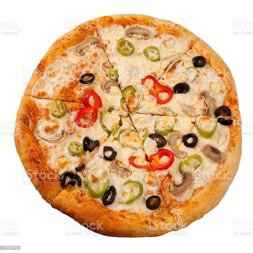 sliced pizza stock photo