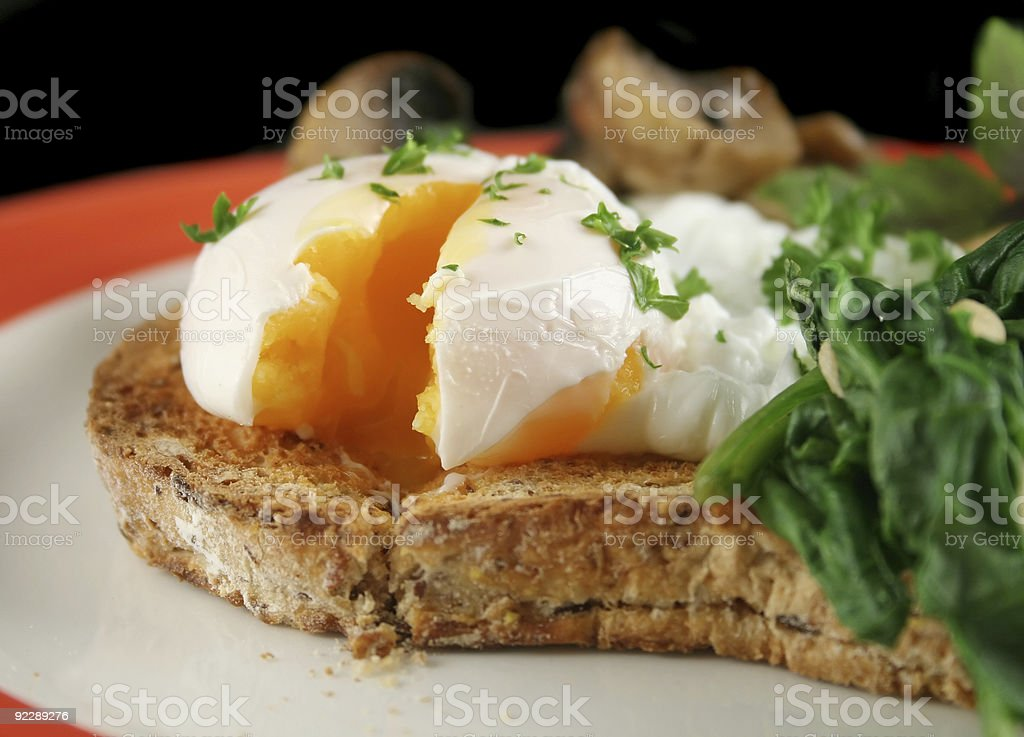 Sliced Poached Egg stock photo