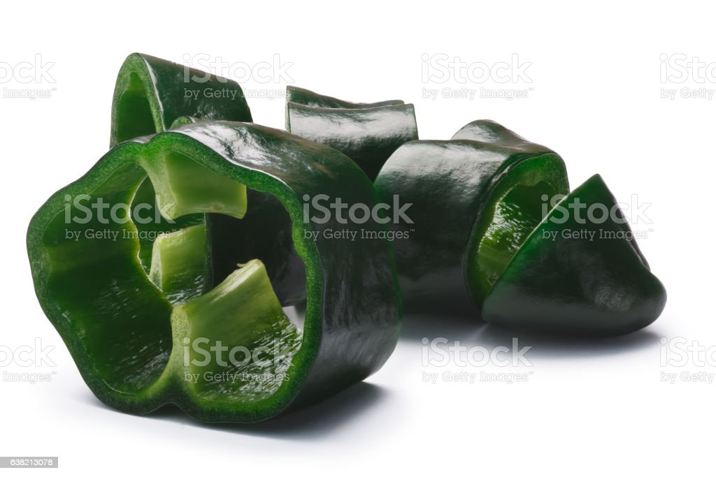 Sliced Poblano (Ancho) pepper, paths stock photo