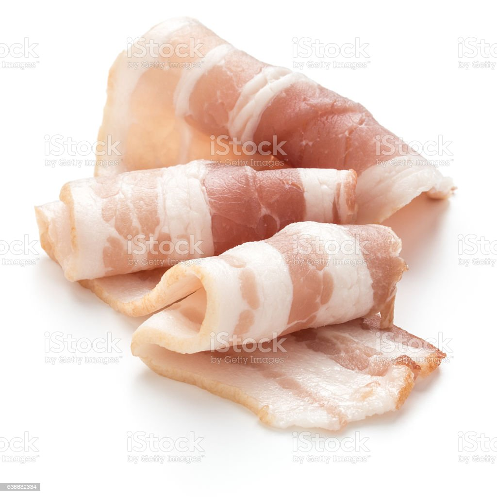 sliced pork bacon isolated on white background cutout stock photo