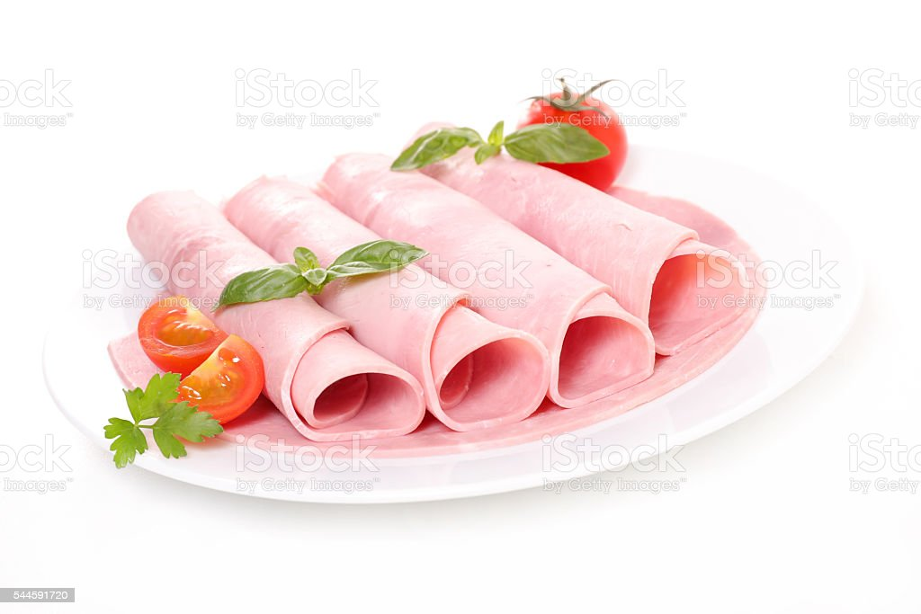 sliced pork ham stock photo