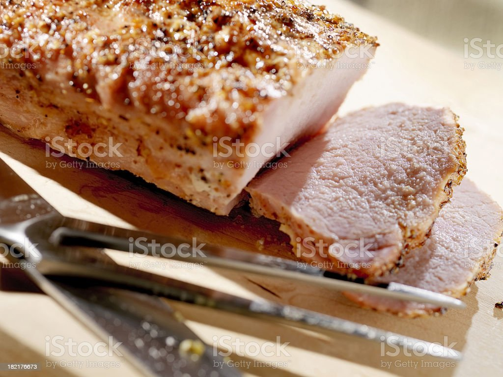 Sliced Pork Loin Roast royalty-free stock photo