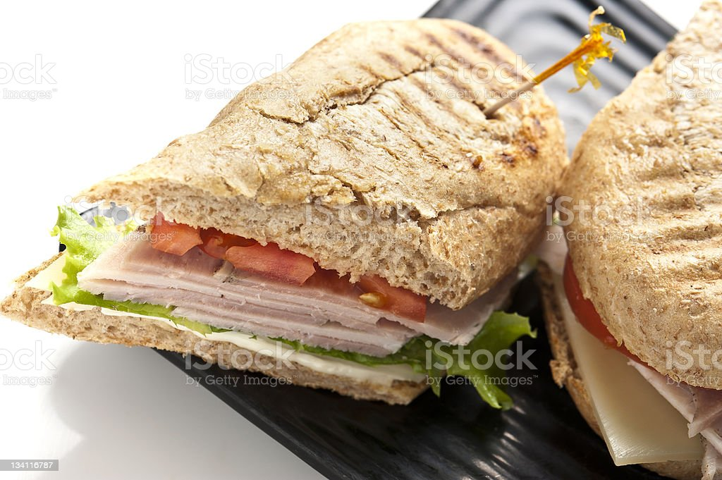 Sliced pork Meat and Cheese sandwich stock photo