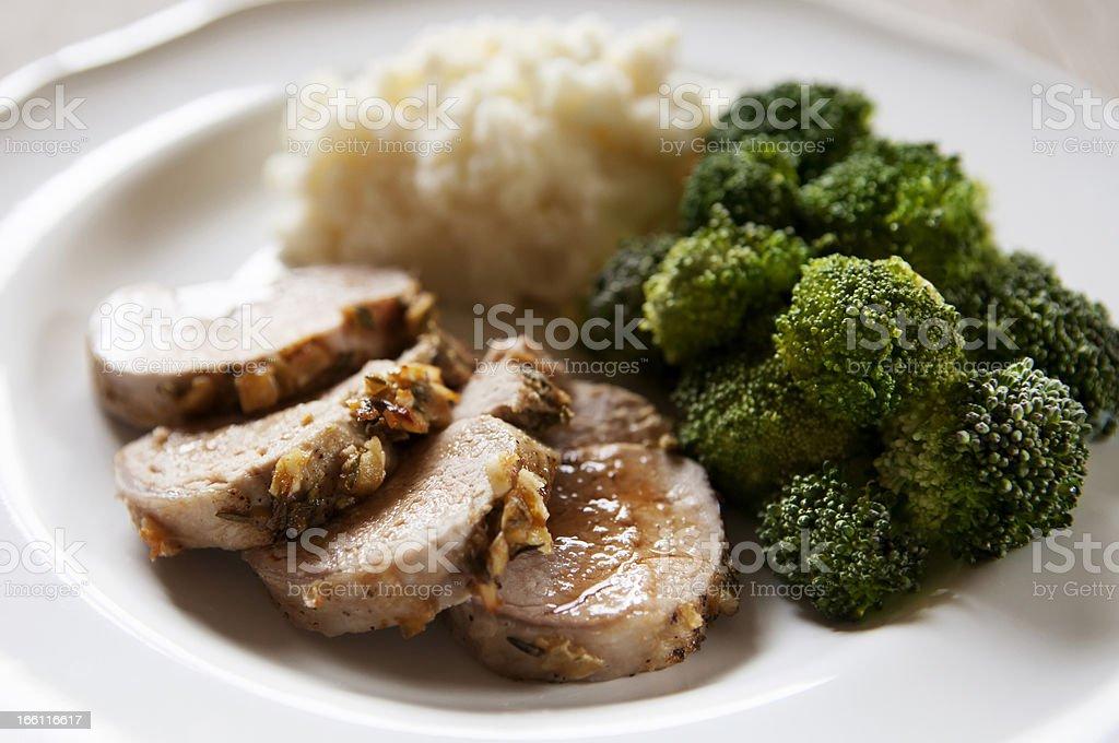 Sliced Pork Tenderloin Dinner stock photo