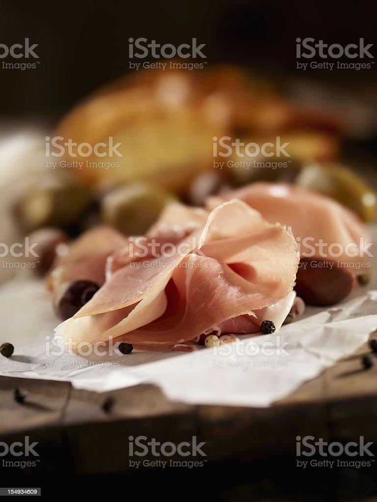 Sliced Prosciutto royalty-free stock photo