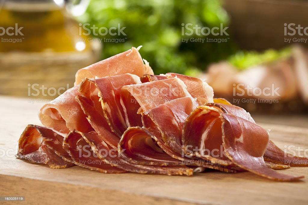 Sliced Prosciutto stock photo