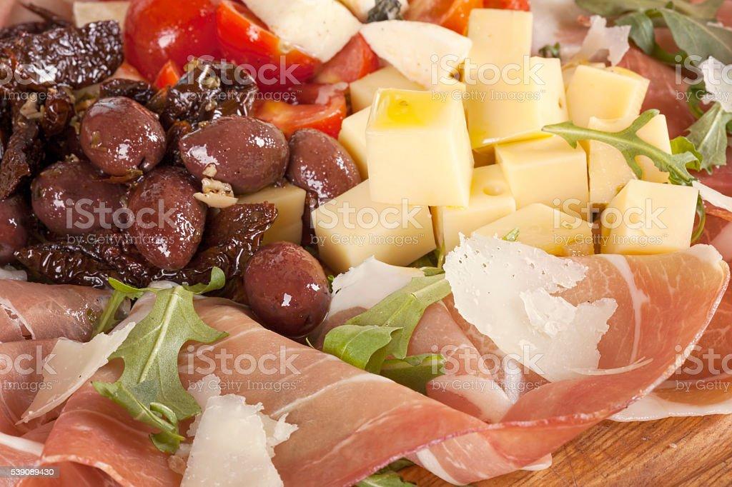 sliced prosciutto stock photo