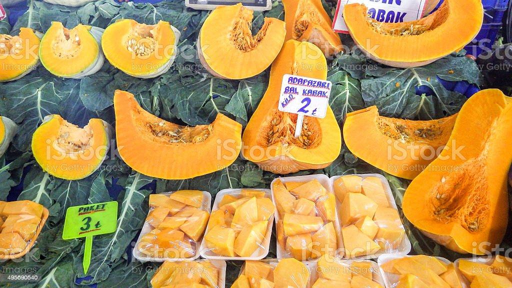 sliced pumpkin stock photo