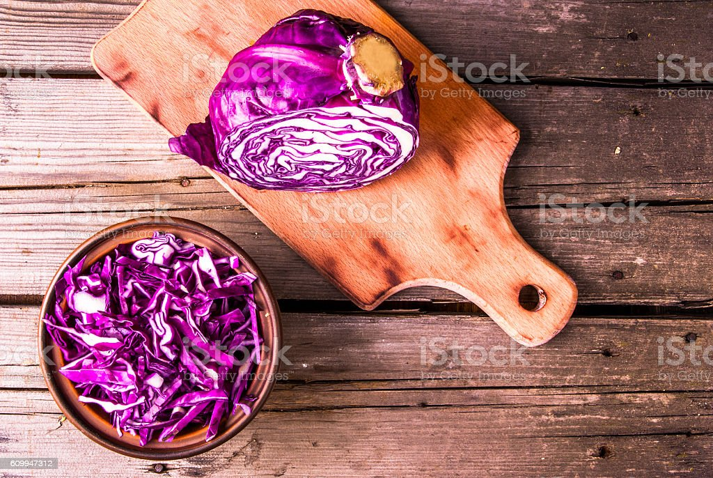 Sliced purple cabbage stock photo