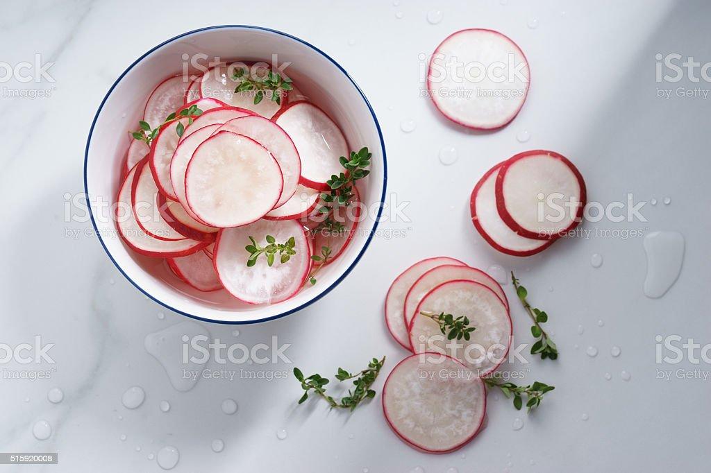 sliced radish pickles stock photo