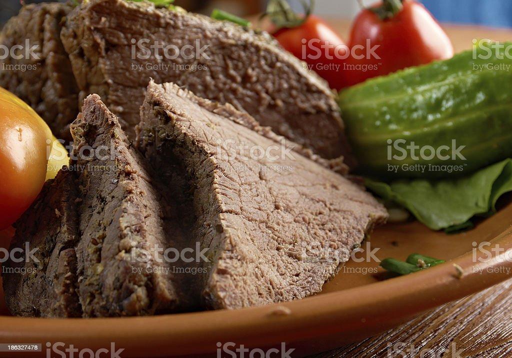 sliced rare roast beef farm-style royalty-free stock photo