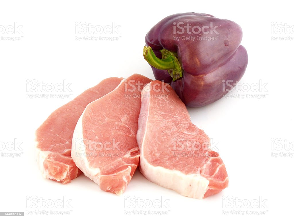 sliced raw meat and pepper bell royalty-free stock photo