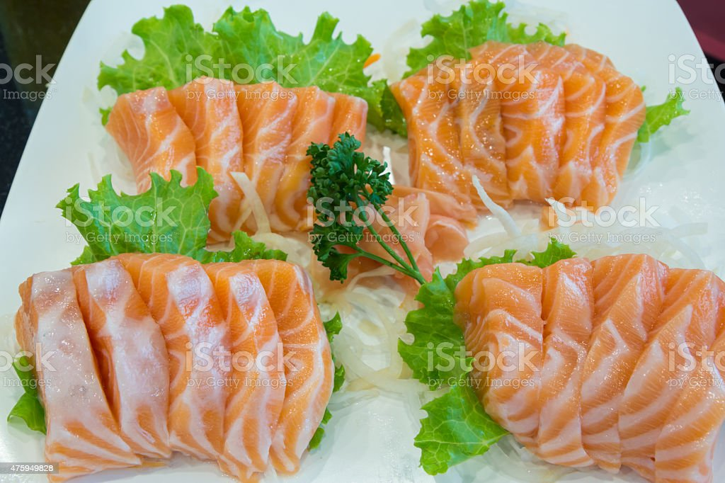 Sliced raw salmon, Salmon sashimi royalty-free stock photo