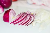 Sliced red and white onion