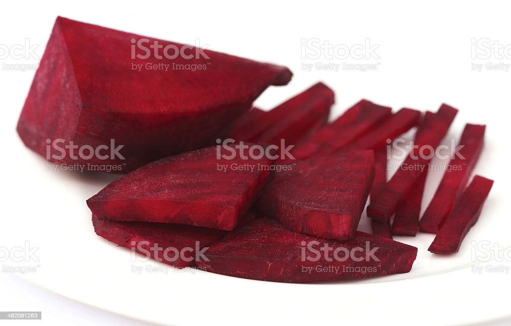 Sliced red beet on plate royalty-free stock photo