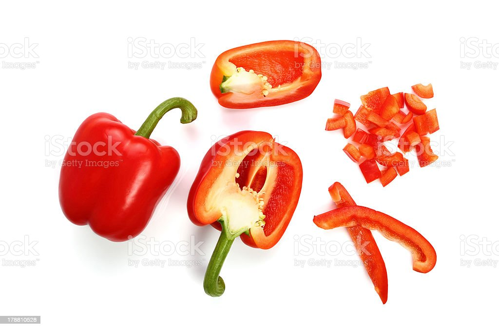 Sliced Red Bell Pepper stock photo