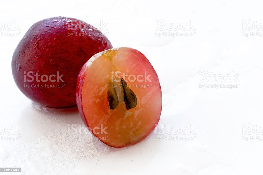 Sliced red grape food background stock photo