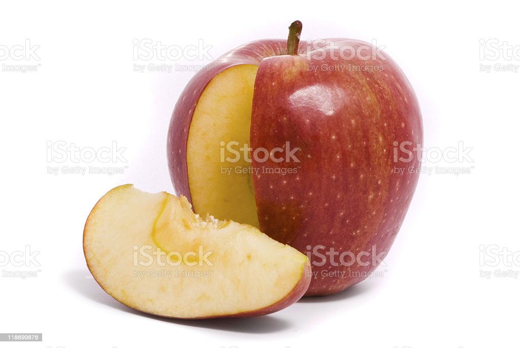 Sliced red ripe apple stock photo