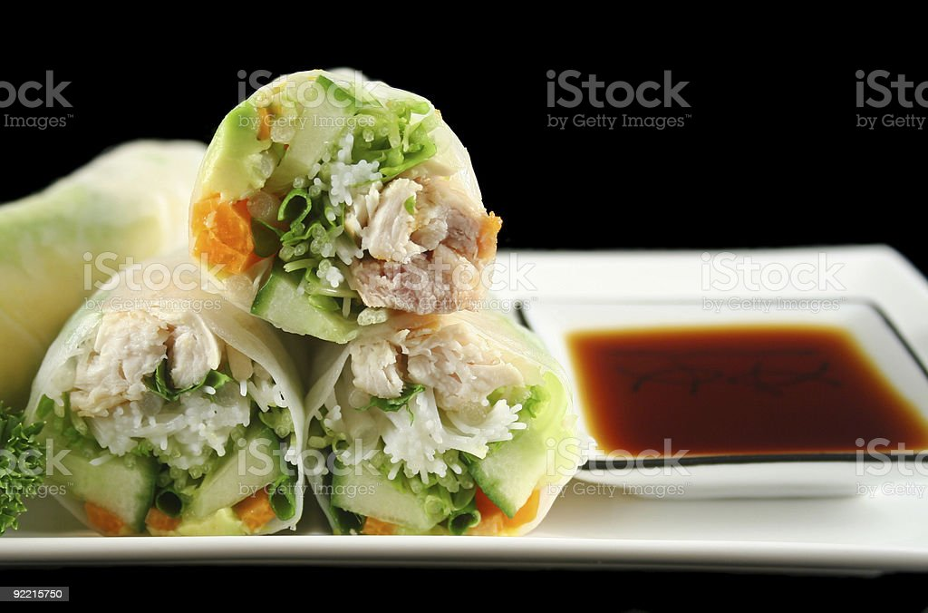 Sliced Rice Paper Rolls royalty-free stock photo