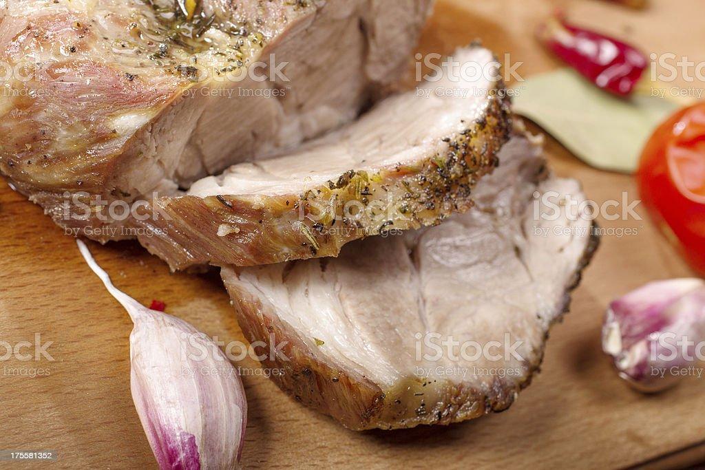 Sliced roasted pork royalty-free stock photo