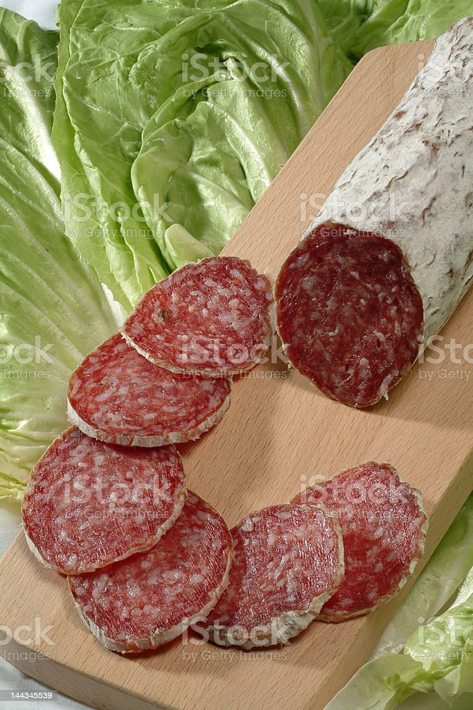 sliced salame royalty-free stock photo