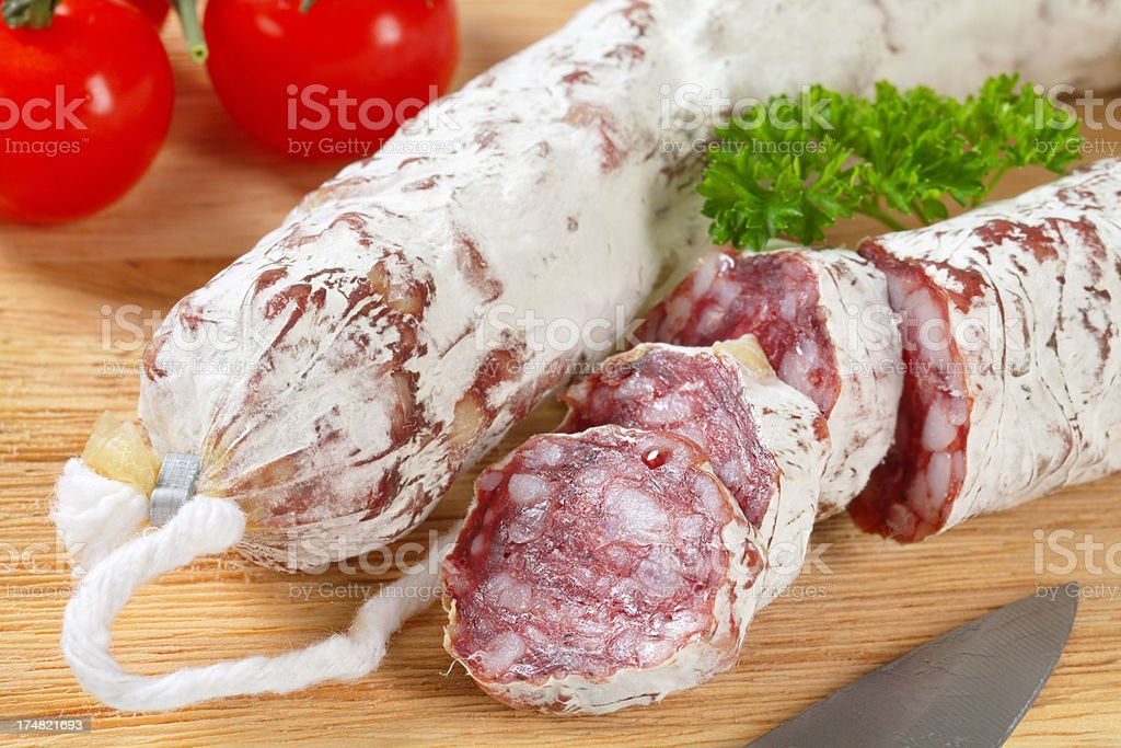 sliced salami sausage royalty-free stock photo