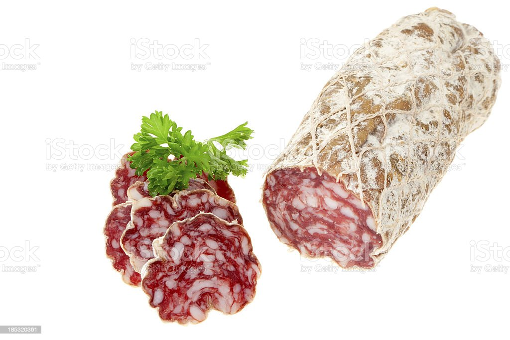 Sliced salami sausage stock photo