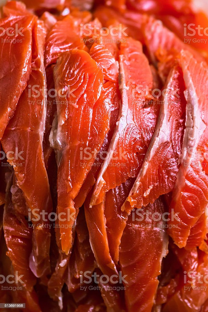 Sliced Salted Salmon stock photo