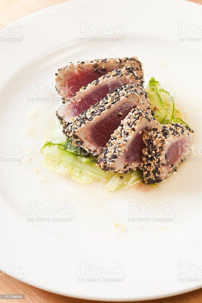 sliced seared ahi royalty-free stock photo