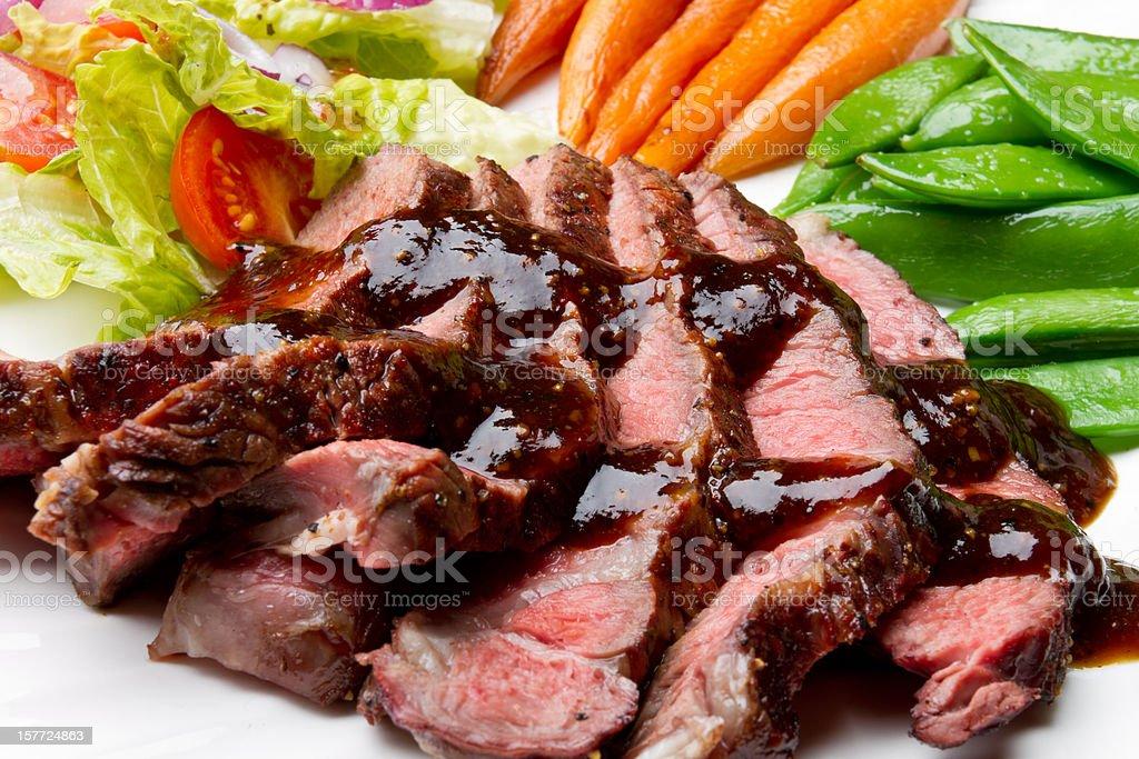 Sliced Sirloin Beef Steak stock photo