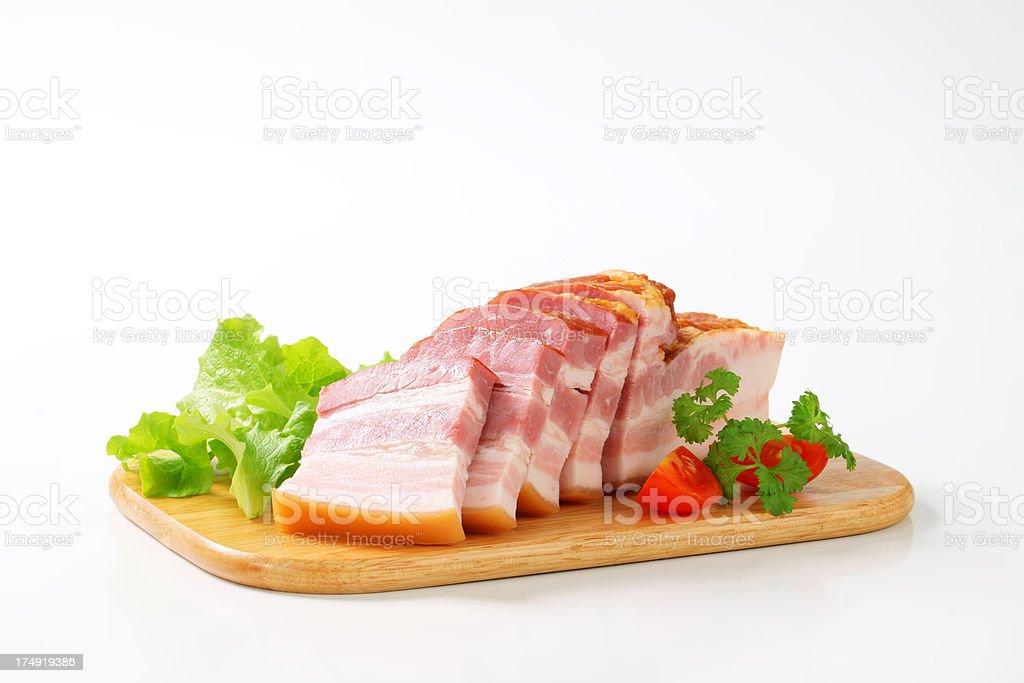 Sliced smoked bacon royalty-free stock photo