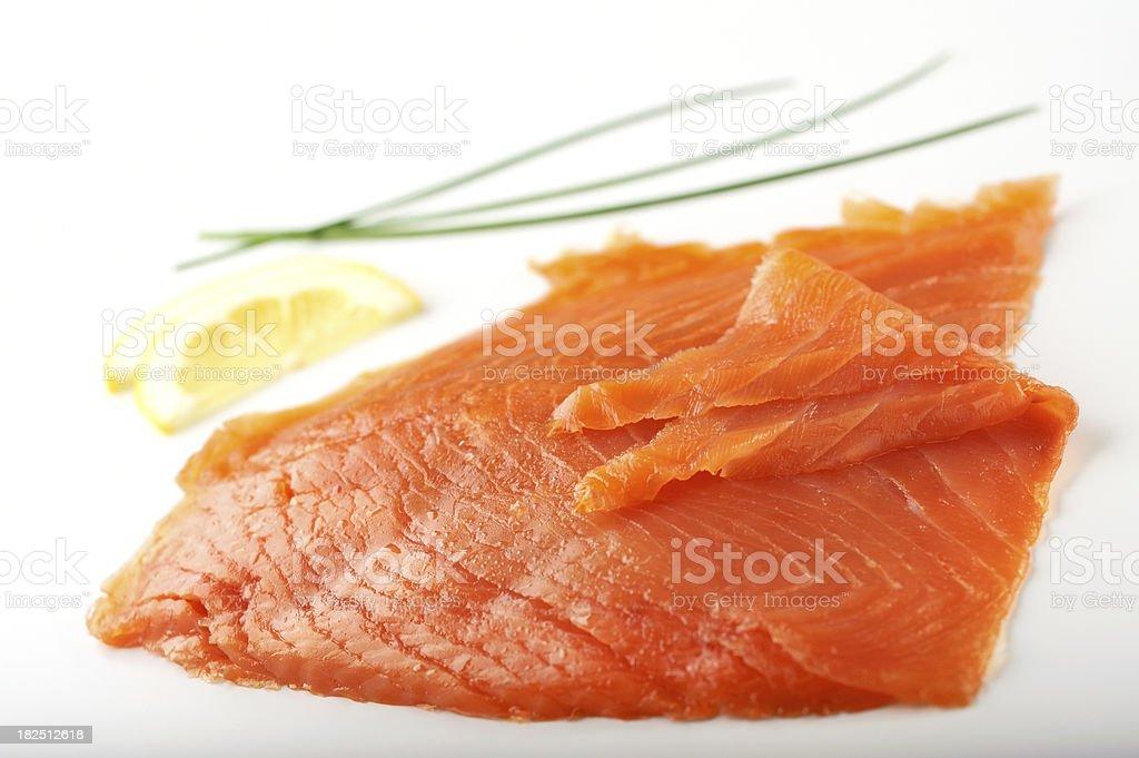 Sliced Smoked Salmon stock photo