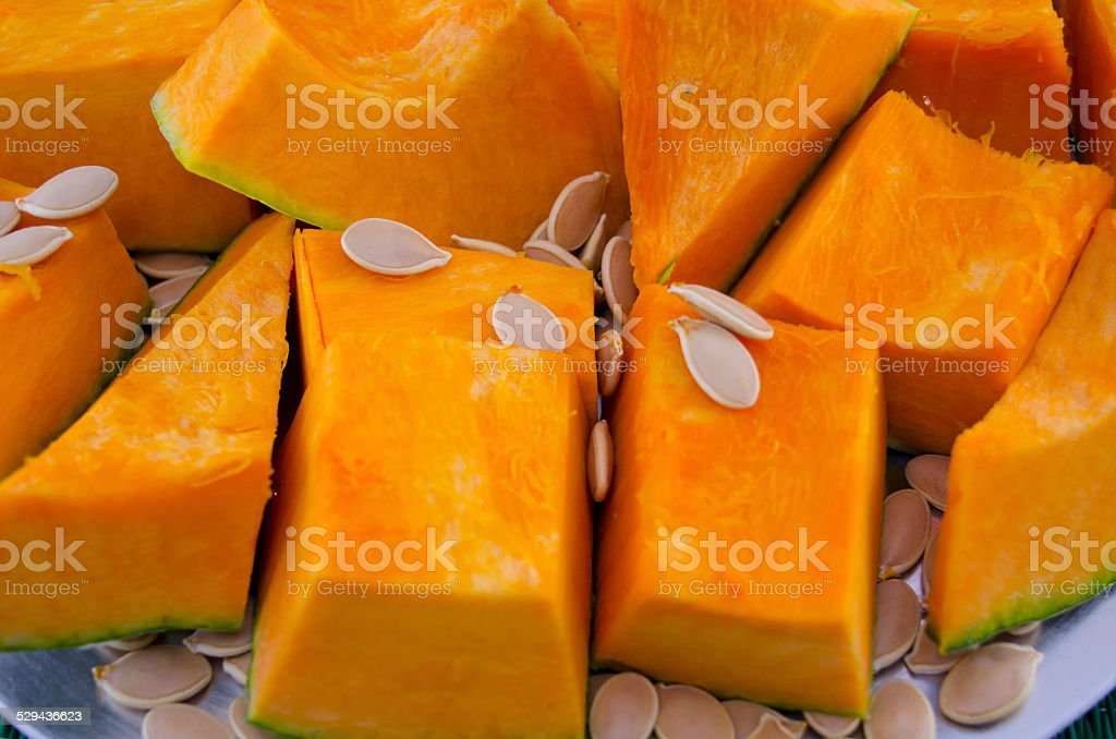 Sliced squash and its seeds closeup royalty-free stock photo