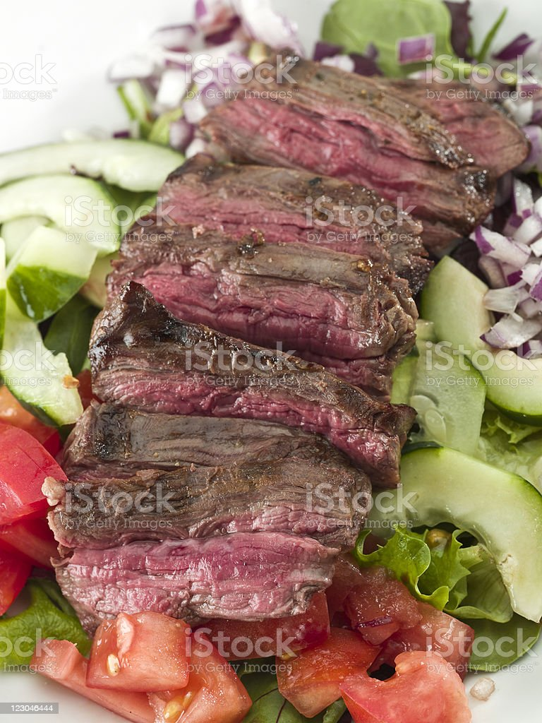 Sliced steak salad royalty-free stock photo
