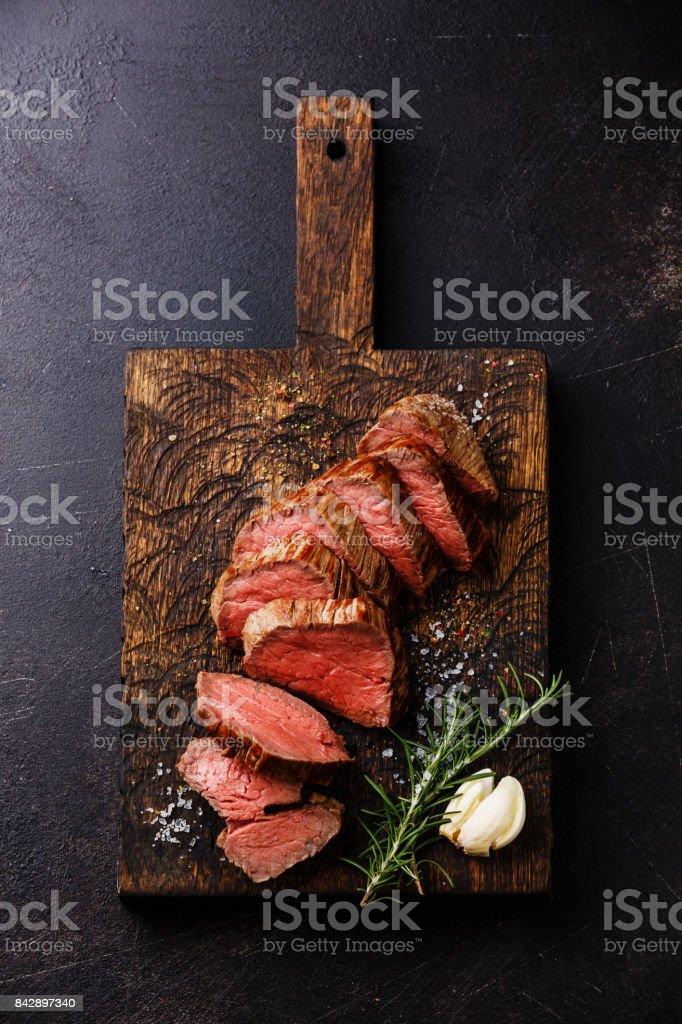 Sliced tenderloin Steak Roast beef stock photo