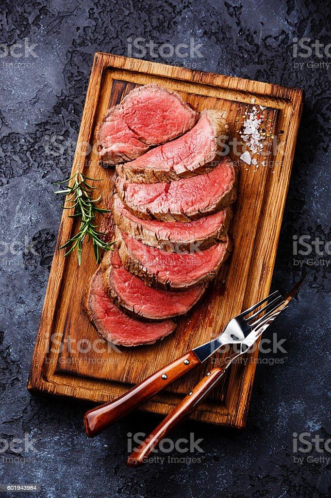 Sliced tenderloin Steak roastbeef stock photo