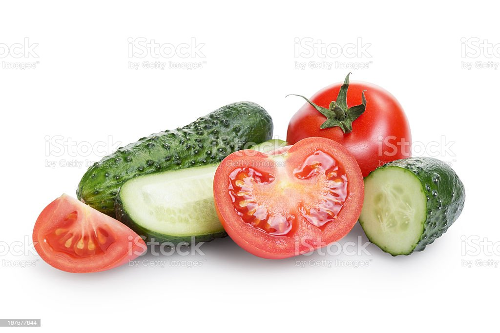 sliced tomato and cucumber royalty-free stock photo