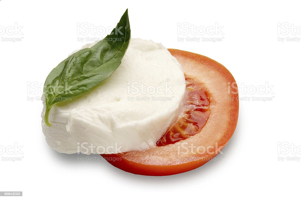 sliced tomato mozzarella and basil royalty-free stock photo