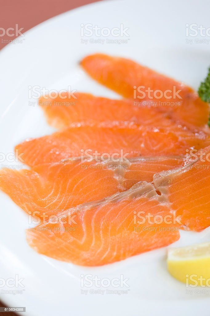 Sliced trout stock photo